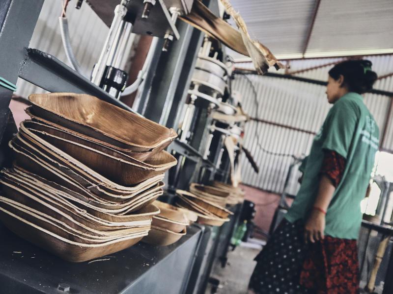 Produktion von Palmblatttellern in Nepal